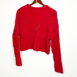 Lovers + Friends Red Crop Sweater Acrylic Small